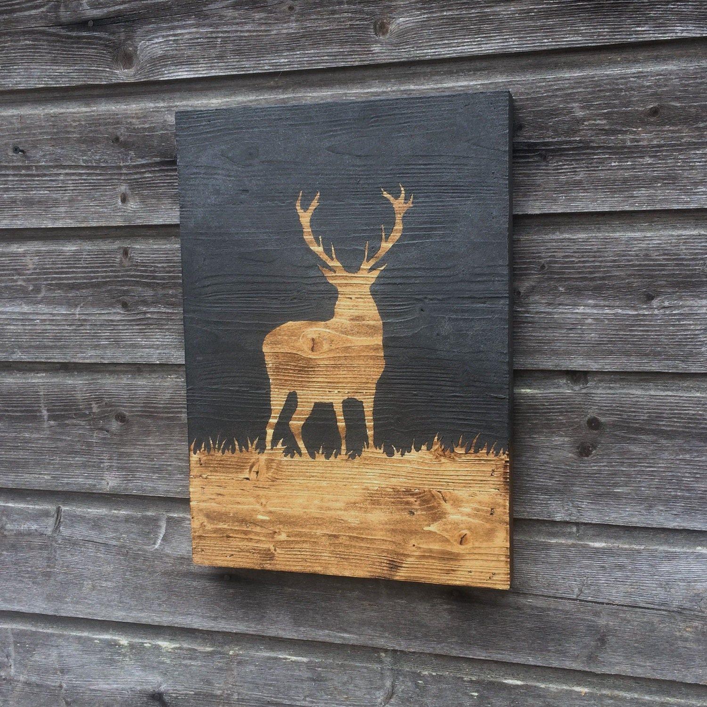 tableau d coratif cerf peinture sur bois 42cmx32cm. Black Bedroom Furniture Sets. Home Design Ideas