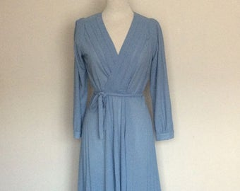 1970s Blue Long Sleeved Day Dress Vintage