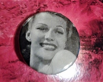 Rita Hayworth 1 inch pin//golden age cinema//cinema pins