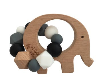 Elephant Teething ring with charcoal mix