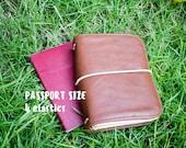 REAL LEATHER COVER • Traveler's Notebook •  Passport size •  4 elastics •  fauxdori •  mtn •  sketchbook • foxydori • midori