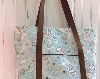 Powder Blue Paisley Large Sturdy Tote