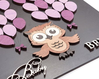 Baby Shower Guest Book Alternative Owl Baby Shower Guestbook Baby Boy Shower Guest Book Baby Shower sign in 3D guest book - CUSTOM COLORS
