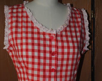 Dress in cotton gingham red and white 1960