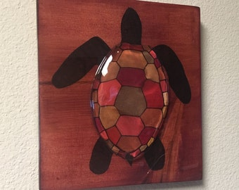 Red & Gold Sea Turtle 3D Clear Shell