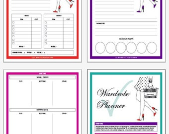 Printable Wardrobe Planner, Printable Planner, Digital Print, Fashion Print, Instant Download, Organizer, Worksheets