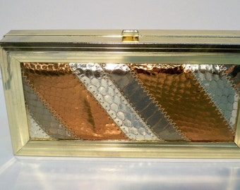 Vintage Margolin Purse, 1950's Margolin Purse, Clutch Metal Frame Clutch With Snake Skin, Margolin Vintage Snake Skin Clutch