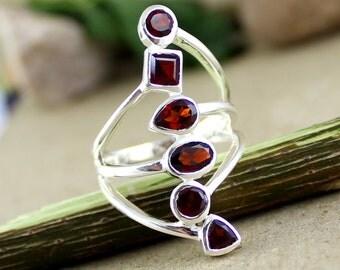 garnet silver ring, long garnet ring, sterling silver ring, multi shape ring, big women ring, garnet jewelry, girls casual ring, gift ring