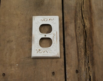 White Cast Iron Electrical Plug Outlet Cover Plate