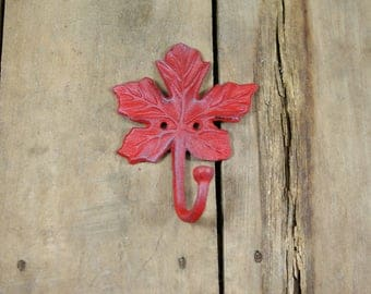 Red Cast Iron Maple Leaf Coat Hook