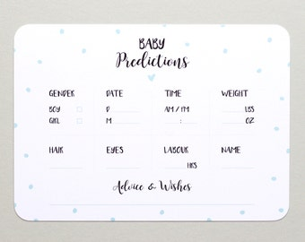 Baby Prediction Cards - x10 - Polka Dots - Baby Shower Games | gifts for her