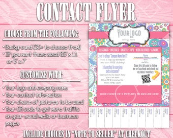 Contact Flyer | Tear-Off Tab | QR Code | Floral Paisley