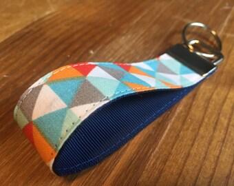 Blue Triangle Geometric Print Fabric Keyring