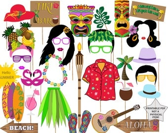"Hawaiian photo booth props: ""LUAU PHOTO PROPS""  Hawaiian party props,Summer beach party,Summer holiday props,Luau party supplies,Printable"