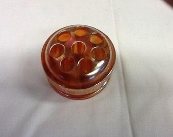 Vintage Marigold Carnival Glass Flower Frog