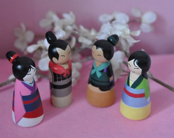 Peg dolls Mulan - toys childrens wooden