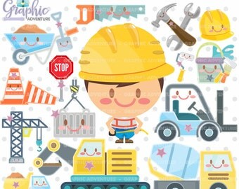 75%OFF - Construction Clipart, Construction Graphics, COMMERCIAL USE, Kawaii Clipart, Construction Clip Art,  Construction Equipment