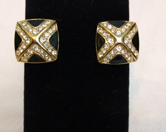 Signed Trifari Black/Gold/Rhinestone X Square Clipons