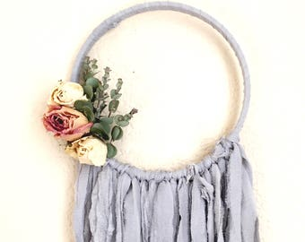 Enchanting Wall Hanging / Dried Flower Wall Hanging / Botanical Dream Catcher / Boho Wall Hanging / Vintage / Gifts for Her / III