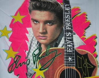 Elvis Presley  the King vintage  white t shirt  with guitar in  size large or x-large made in the USA