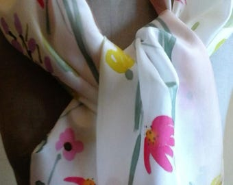 Silk scarf, hand painted- Flowers