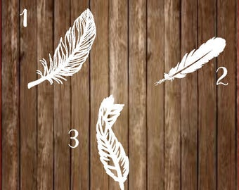 White Feather Decal-White Feather-Feather Decal-Feather-Visitor From Heaven-Custom Decal-Yeti Decal-Decal-Bird Feather-Bird Feather Decal