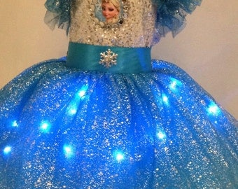 Dress girl snow led Queen size 4 years