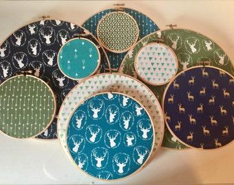 Embroidery Hoop Wall Art, Nursery Decor, Baby Boy Nursery, Baby Boy, Fabric Hoop Wall Hanging, Set of 10 Fabric Hoop Art