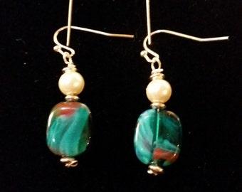 Czech Glass and Pearl Earrings