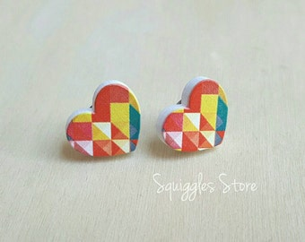 Hypoallergenic Stud Earrings with Titanium Posts - Red Geo Heart Love - Sensitive Ears