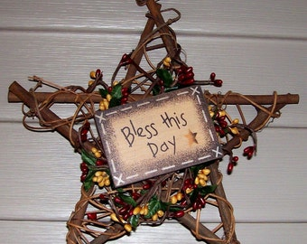 "country primitive ""Bless This Day""  star wreath 10"" with pip berries"