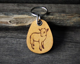 Baby Goat -  genuine leather keychain