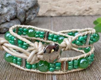 Double Wrap Leather Bracelet Green Glam