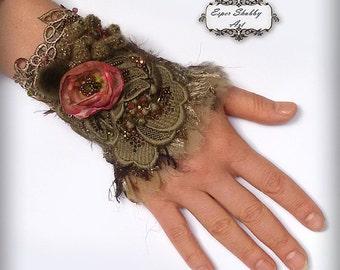 jewelry bracelet, romantic shabby chic wrist cuff -antique laces, hand beaded ,embroidered textile cuff antique lace
