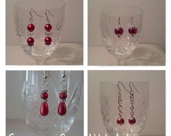 Red Earrings (four styles) #earrings #red bead earrings