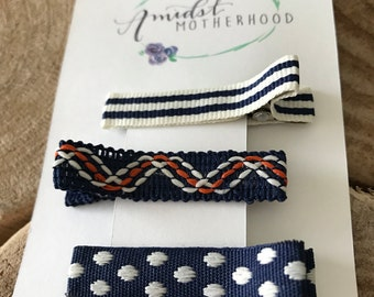 No Slip Alligator Hair Clip Set - Baby, Toddler, Girl - Navy/Cream Stripe, Navy, Orange & White Wave, Navy/Cream Dots