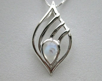 Moonstone Tear Drop Sterling Silver Necklace, Gemstone, Birthstone, Pear Drop, Tear Drop, Unique Pendant, 925 Sterling Silver, Modern