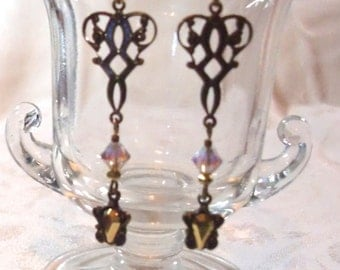 Earrings: Antique Reprod. Brass Filigree Connectors, Golden Shadow AB 2X Swarovski Crystals, Vintage Aurum Gold SW/Brass Drops, Brass Hooks