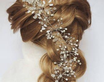 Rose gold bridal headband Bridal Hair Vine Bridal Veil beaded headband Wedding band pearl headband bridal headpiece bridal hair piece