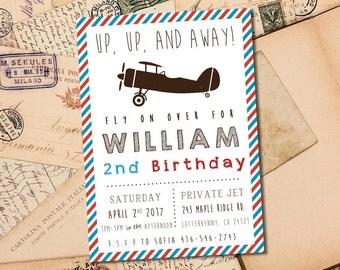 Vintage Airplane Kids Birthday 5x7 Invitation - Up Up and Away - Digital File
