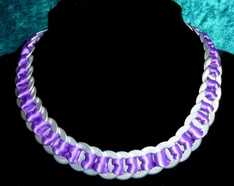 Necklace - purple ribbon through metal rings. Quirky statement jewellery piece - fun with a Wow factor! Great xmas or birthday present!