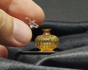 Dollhouse Miniature Glass Bottle Yellow with Lid Scale 1:12 Home Decor Doll&Bears