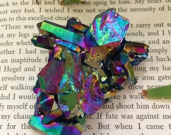 Marvelous Titanium Rainbow Flame Aura Quartz cluster