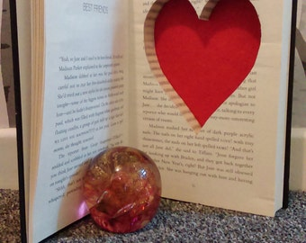 Hollow book safe heart shaped secret compartment hidden stash box upcycled recycled repurposed valentines day gift