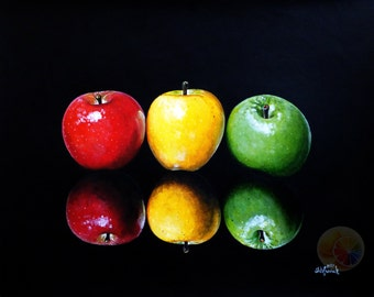 "Apple Painting, Сolor Apples On Black Background, Fruit Painting, 11""x14"" original hand painted artwork, dining room decor, kitchen wall art"