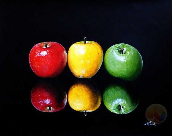 Apple Painting Color Apples On Black Background Fruit