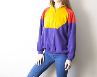 80s Vintage Color Block Pullover Sweatshirt / Purple, Yellow, Red
