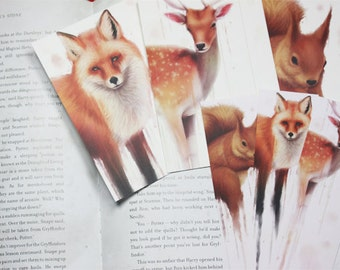 Three Forest Animals Bookmarks + Three Postcards