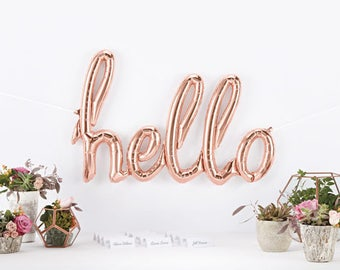 Hello Rose Gold Script Balloon - FREE POSTAGE - Super fun baby shower party decoration or photo booth prop!