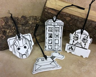 Set of four Limited edition Dr Who tags/ decorations